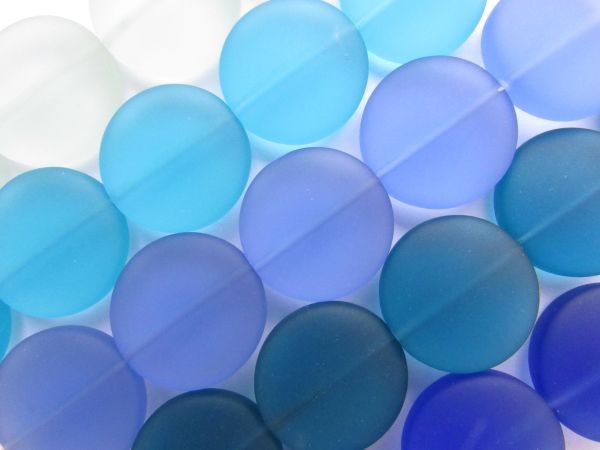 Bead Supply Cultured Sea Glass BEADS 20mm Coin assorted BLUES frosted flat round for making jewelry