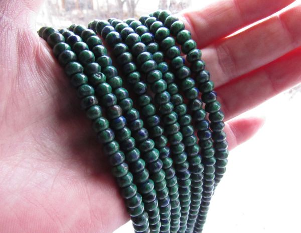 Bead Supply Azurite Malachite BEADS 6mm Rondelles Blue & Green Gemstone smooth polished for making jewelry