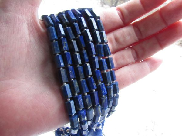 8x5mm Octagon Barrel BEADS Lapis Lazuli Natural Blue unique bead supply making jewelry