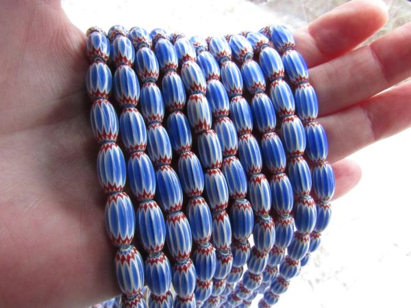 Glass Chevrons BEADS 13x7mm Blue white layer glass with red handmade bead supply for making jewelry