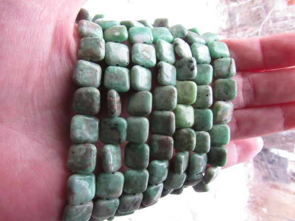Natural Green VARISCITE BEADS beading supply for making jewelry 9mm square strand