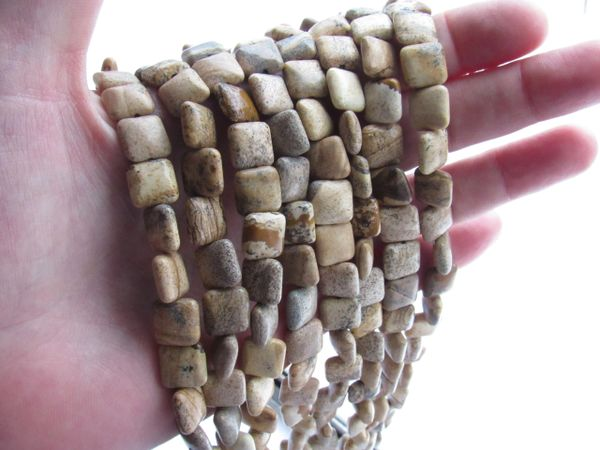 "Picture Jasper BEADS 10mm Square 40 pc 15.5"" Strand Puffed Natural Gemstone Unique Cushioned natural gemstone earth tone"