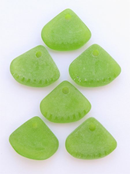 Bead Supply Cultured Sea Glass PENDANTS Olive GREEN 24x20mm Ridged Triangle for making jewelry
