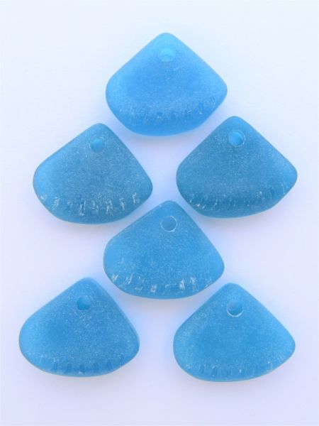 Frosted Glass Cultured Bottle Glass PENDANTS 24x20mm TEAL Marine BLUE pendant bead supply