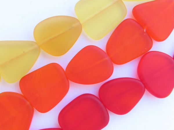 Cultured Sea Glass jewelry BEADS 22-24mm Red Orange Yellow Assorted Strands bead supply