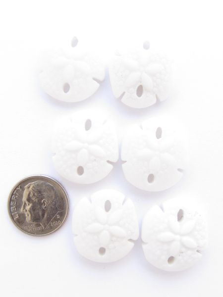 Frosted Glass SAND DOLLAR PENDANTS 21x19mm OPAQUE WHITE supply for making jewelry