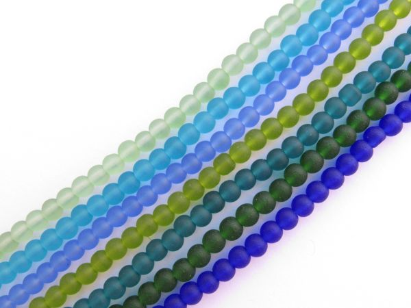 Cultured Sea Glass BEADS Round 4mm Assorted 7 strand colors blue green frosted bead supply for making jewelry