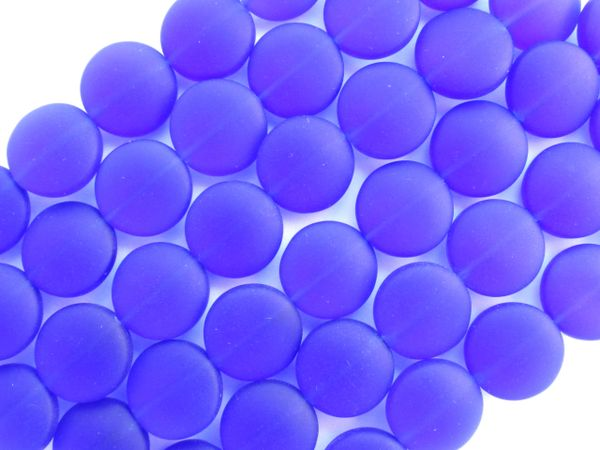Cultured Sea glass BEADS 12mm Coin Royal COBALT BLUE frosted flat round bead supply for making jewelry