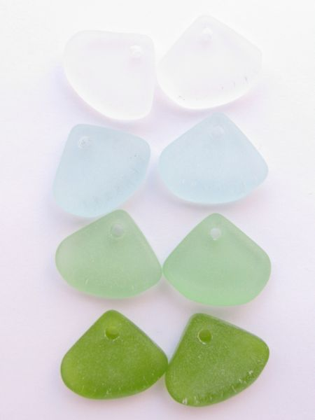 Cultured Sea Glass PENDANTS 24x20mm GREENS Ridged Triangle drilled Bottle bead supply for making jewelry