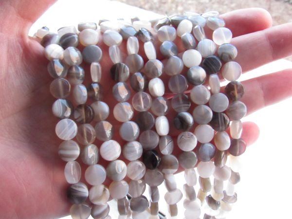 Banded AGATE BEADS 8mm coin bead supply strand for making jewelry