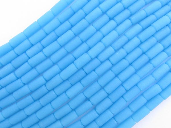 Cultured Sea Glass BEADS 9x4mm tube Opaque Blue Opal frosted bead supply for making jewelry