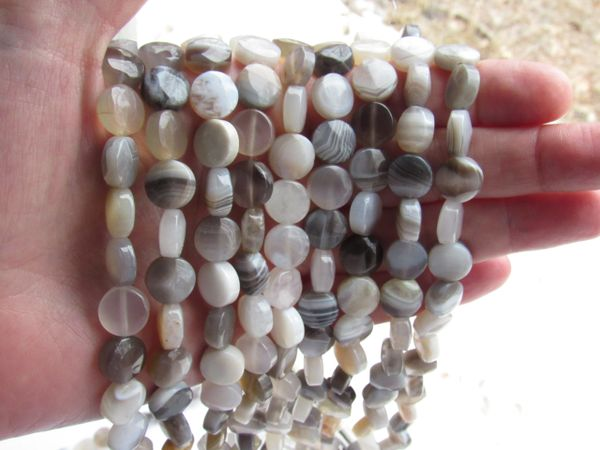 10mm Coin AGATE BEADS banded gemstone bead supply strand for making jewelry