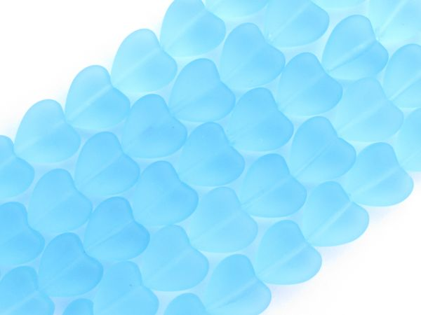 Bead Supply Heart BEADS Frosted Glass 11x12mm puffed hearts AQUA BLUE for making jewelry