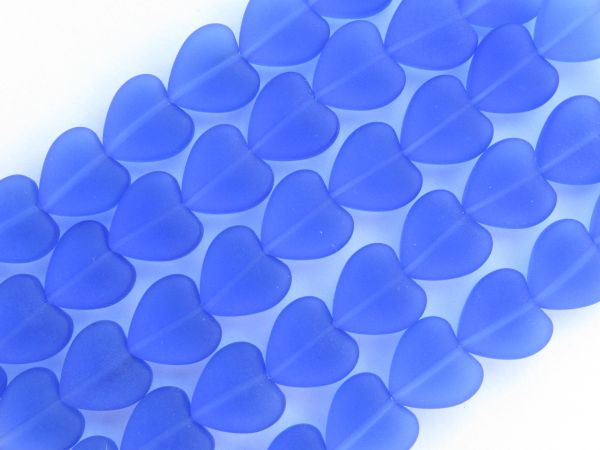 Frosted Glass Heart BEADS 11x12mm Light Sapphire puffed hearts bead supply for making jewelry
