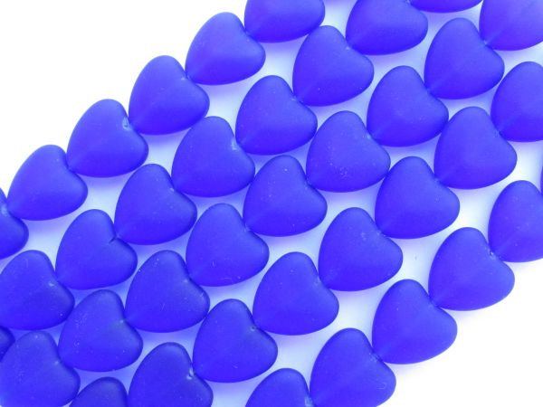 Cultured Sea Glass BEADS HEARTS 11x12mm Royal Cobalt BLUE frosted heart bead supplies for making jewelry