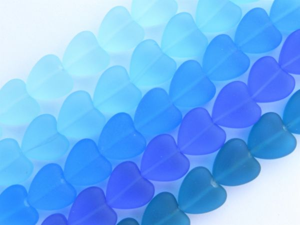 Cultured Sea Glass Heart BEADS 11x12mm frosted HEARTS 5 Strands ASSORTED BLUES bead supply for making jewelry