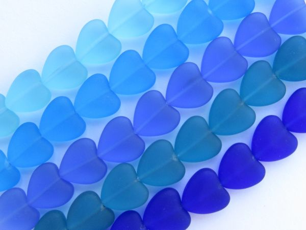 Cultured Sea Glass BEADS 11x12mm frosted HEARTS 5 Strands Dark BLUES heart bead supply for making jewelry