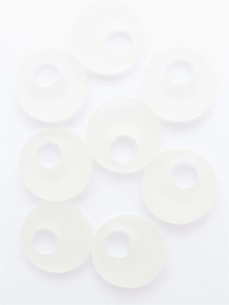 Frosted CLEAR Glass PENDANTS Ring Assorted Pairs 20mm Donut RINGS bead supply for making jewelry