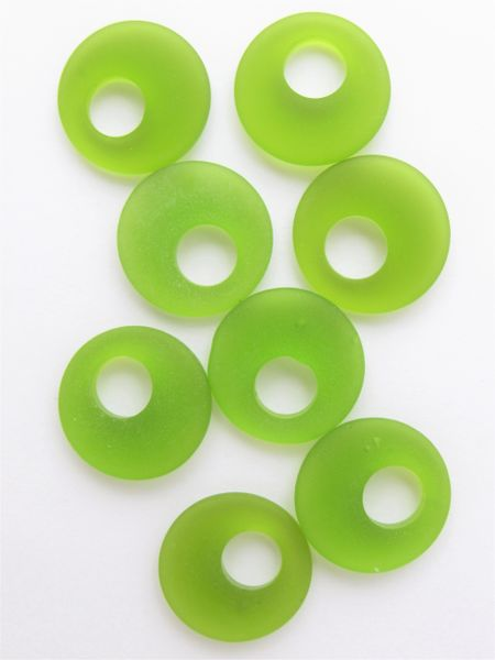 Matte finish Glass RING PENDANTS 20mm Donut RINGS Olive Green bead supplies for making jewelry