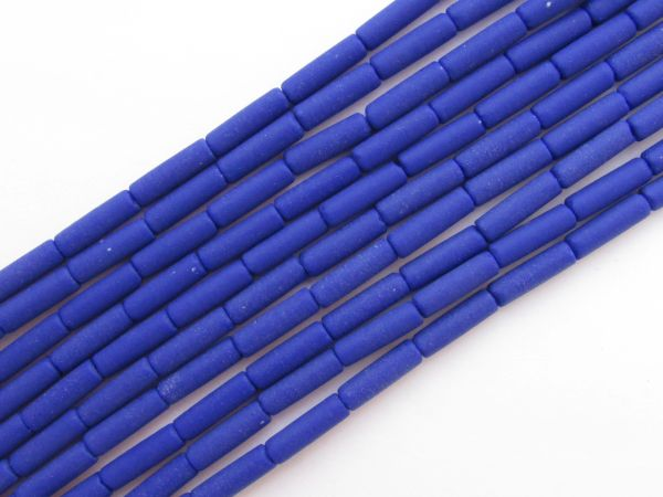 Cultured Sea Glass BEADS 9x4mm tube Opaque Royal BLUE frosted bead supply for making jewelry
