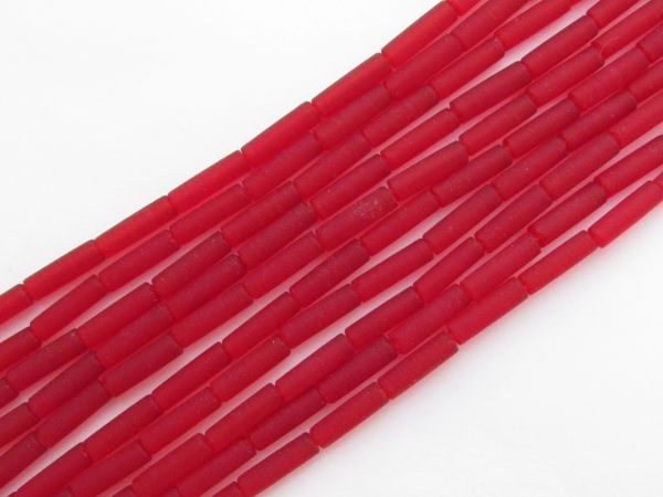 Cultured Sea Glass BEADS 9x4mm tube CHERRY RED frosted bead supply for making jewelry