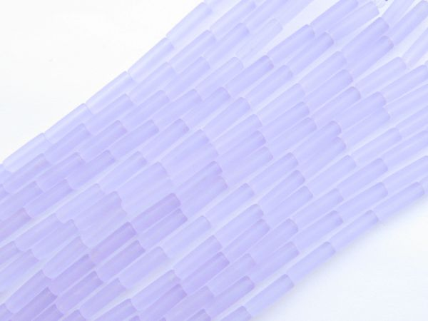 Frosted Glass BEADS 9x4mm tube Periwinkle LIGHT PURPLE length drilled bead supply for making jewelry