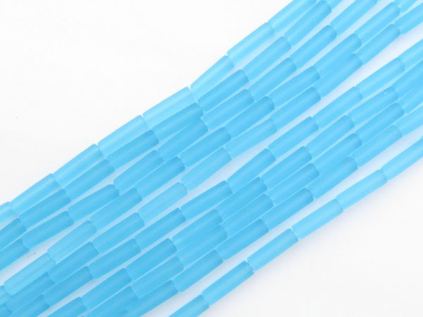 Frosted Glass BEADS 9x4mm tube Aqua Turquoise BLUE length drilled bead supply for making jewelry