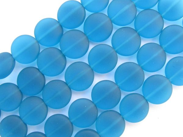 Cultured Sea glass BEADS 12mm Coin TEAL BLUE frosted cushioned round length drilled bead supply for making jewelry
