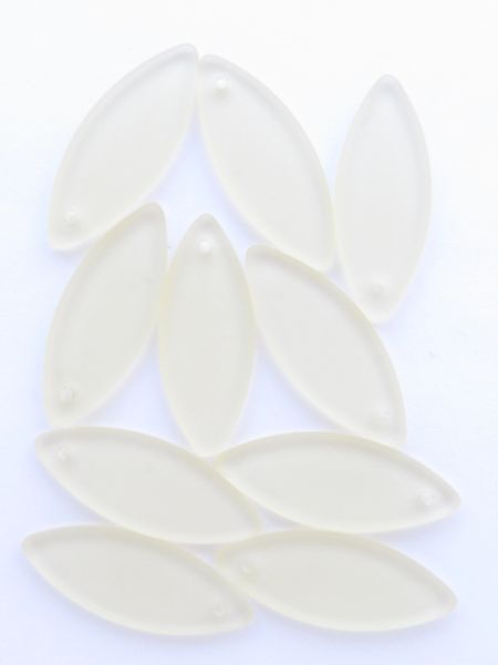 8 pc Cultured Sea Glass PENDANTS Marquise 33x13mm Lemon YELLOW frosted Top Drilled bead supply for making jewelry