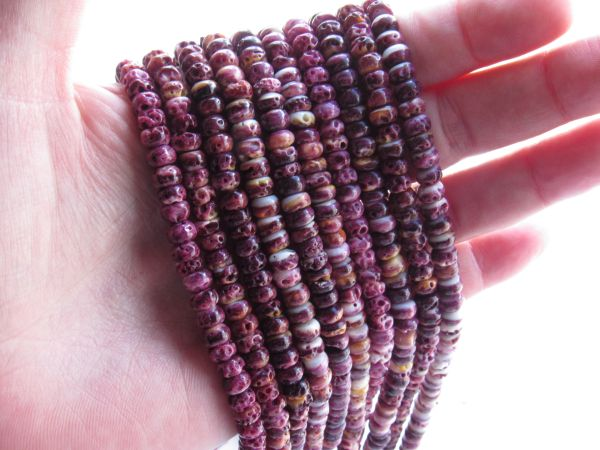 Purple Spiny Oyster SHELL BEADS 6mm Rondelles from Sea of Cortez bead supply for making jewelry
