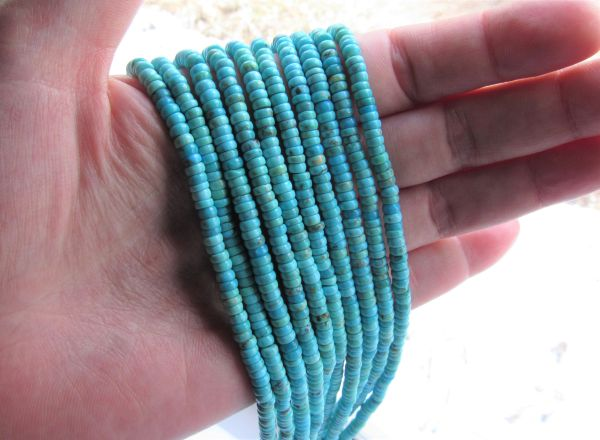 Genuine Turquoise BEADS 4mm Roundel Natural quality bead supply for making jewelry
