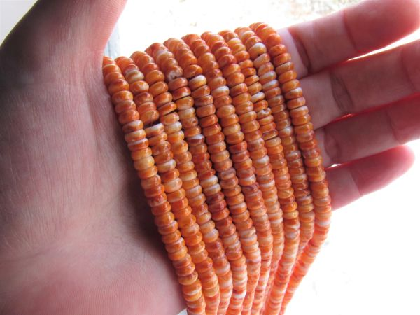 Orange Spiny Oyster SHELL BEADS 6mm Rondelles from Sea of Cortez bead supply for making jewelry