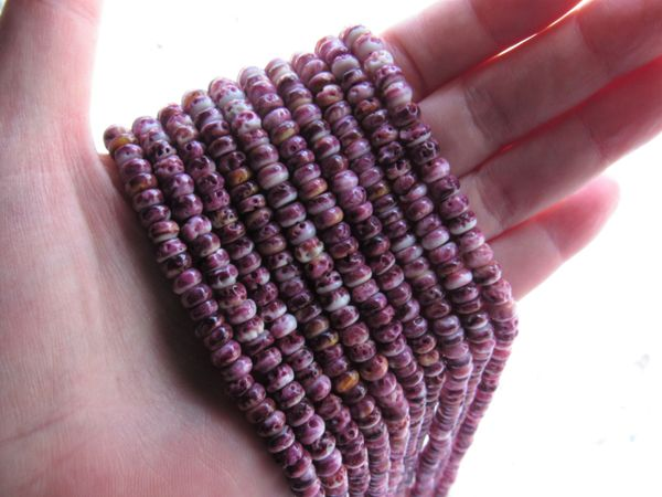 Natural Spiny Oyster SHELL BEADS 6mm Rondelles Light PURPLE from Sea of Cortez bead supply for making jewelry
