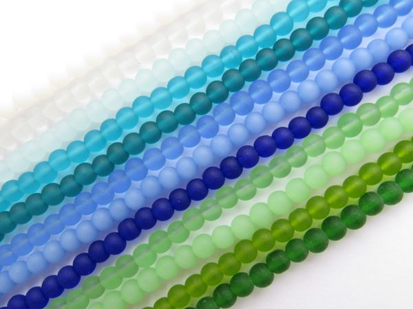 Cultured Sea Glass BEADS Round 4mm Assorted blue green 12 strand bead supplies for making jewelry