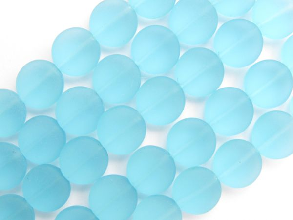 Cultured Sea glass BEADS 12mm Coin Turquoise Bay AQUA BLUE frosted length drilled bead supply for making jewelry