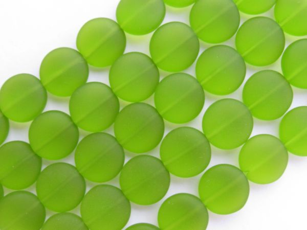12mm Coin GLASS BEADS OLIVE Green frosted matte finish bead supply for making jewelry