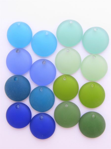Cultured SEA GLASS 25mm Concave Coin BLUE GREEN frosted matte finish top drilled bead supplies for making jewelry