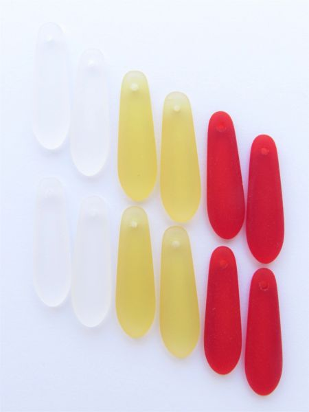 Cultured Sea Glass PENDANTS 22x6mm baby teardrop HOLIDAY colors 12 pc bead supply for making jewelry