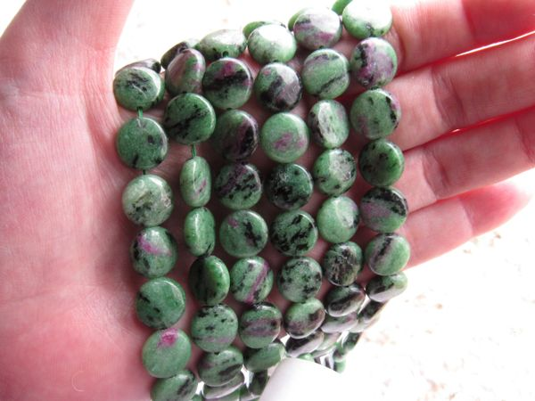 Ruby Ziosite Beads 12mm Coin Multicolor gemstone length drilled bead supply for making jewelry