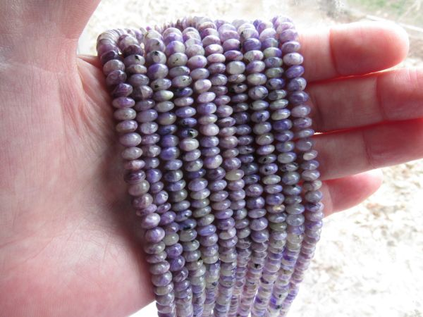 Charoite BEADS 6mm Rondelles Natural Purple gemstone bead supply for making jewelry