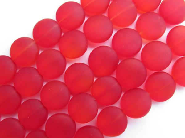 Cultured Sea Glass BEADS 12mm Coin Cherry RED frosted matte finish bead supply for making jewelry