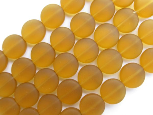 Cultured Sea Glass BEADS 12mm Coin AMBER frosted matte finish bead supply for making jewelry