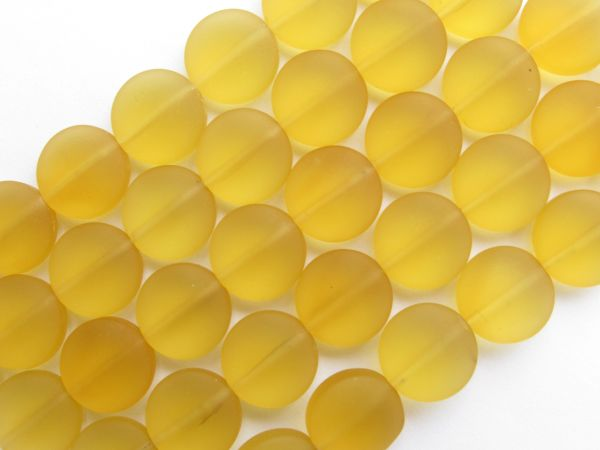 Cultured Sea Glass BEADS 12mm Coin Desert GOLD yellow frosted matte finish bead supply for making jewelry