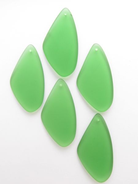 Triangle Glass PENDANTS 53x22mm Medium GREEN Necklace Pendant matte finish cultured sea glass bead supply for making jewelry