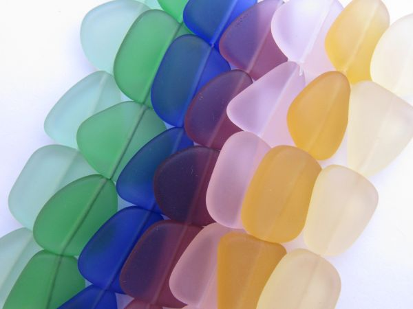 Cultured Sea Glass BEADS 22-24mm ASSORTED flat free form frosted bead supply for making jewelry