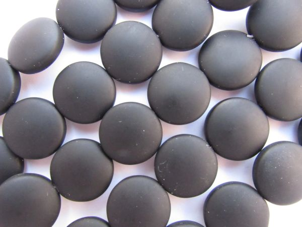 Bead Supplies 15mm Coin OPAQUE BLACK recycled round length drilled for making jewelry