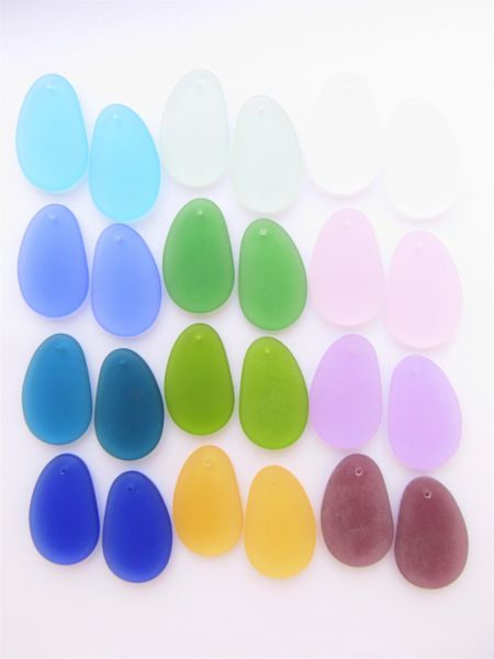 Bead Supply Cultured Sea Glass PENDANTS 33x20mm Assorted 12 pair Teardrop top Drilled Aqua Green Blue Purple Pink for making jewelry