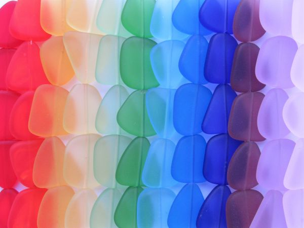 bead supply for making jewelry Cultured Sea Glass BEADS 22-24mm Flat Free form frosted Rainbow 12 strands