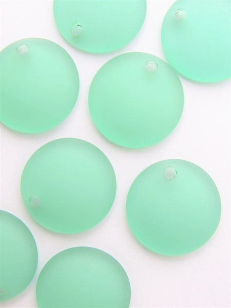 Seafoam GREEN Glass PENDANTS 25mm Concave Coin frosted top drilled bead supply for making jewelry