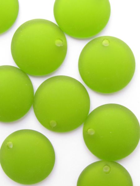 Cultured Sea Glass PENDANTS 25mm Concave Coin OLIVE GREEN frosted top drilled bead supply for making jewelry